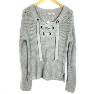 GAP Sweaters - NWT Gap Gray Shoelace Lace Up V Neck Sweater
